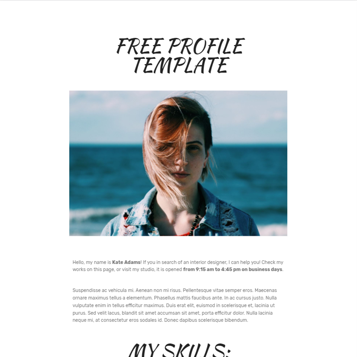 Free Bootstrap Profile Templates