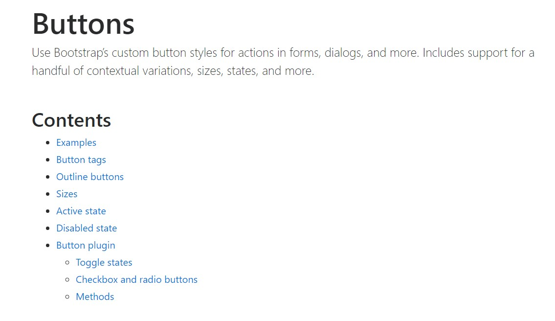 Bootstrap buttons  formal documentation