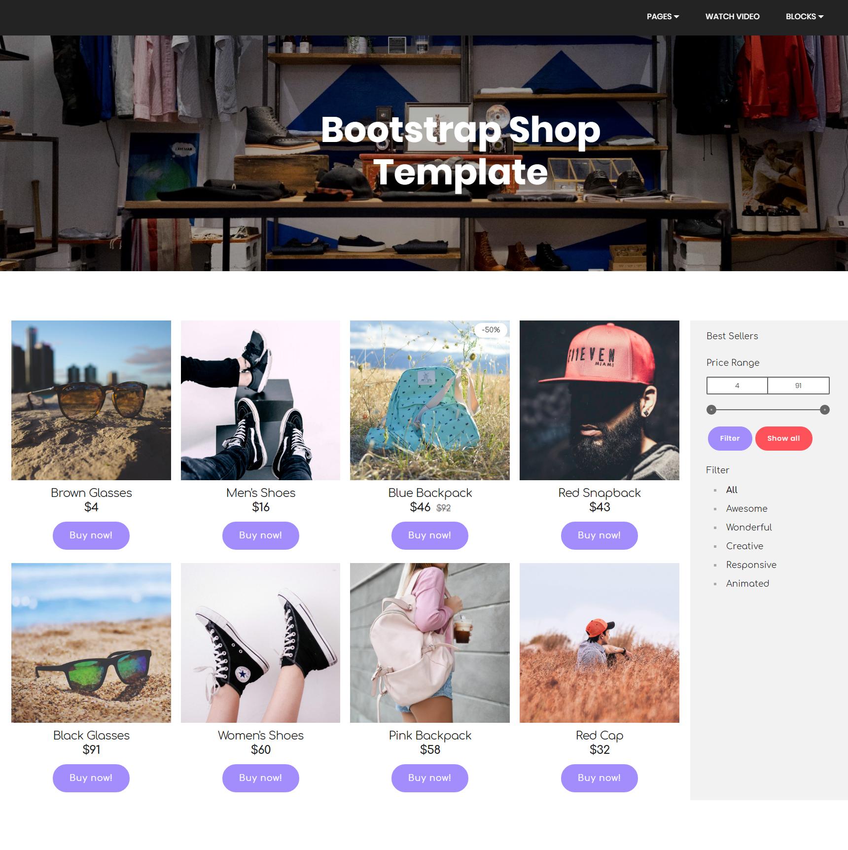 HTML Bootstrap Shop Templates