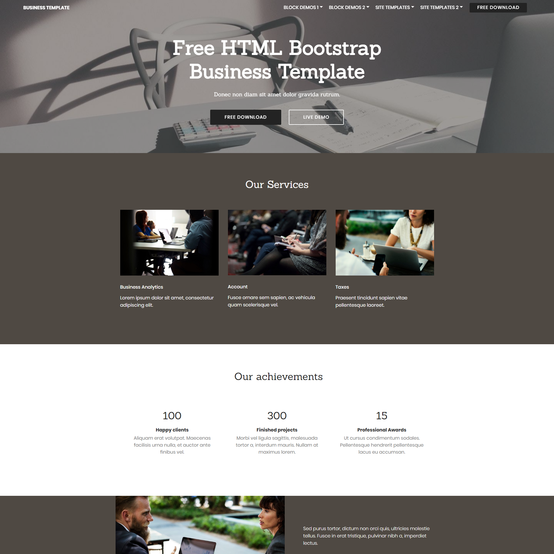 HTML Bootstrap Business Templates