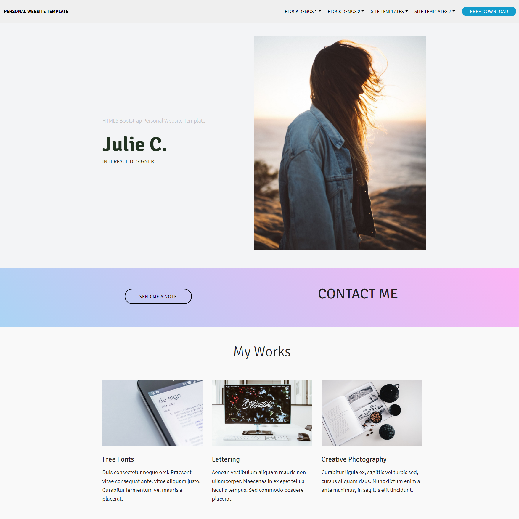 HTML Bootstrap Personal website Templates