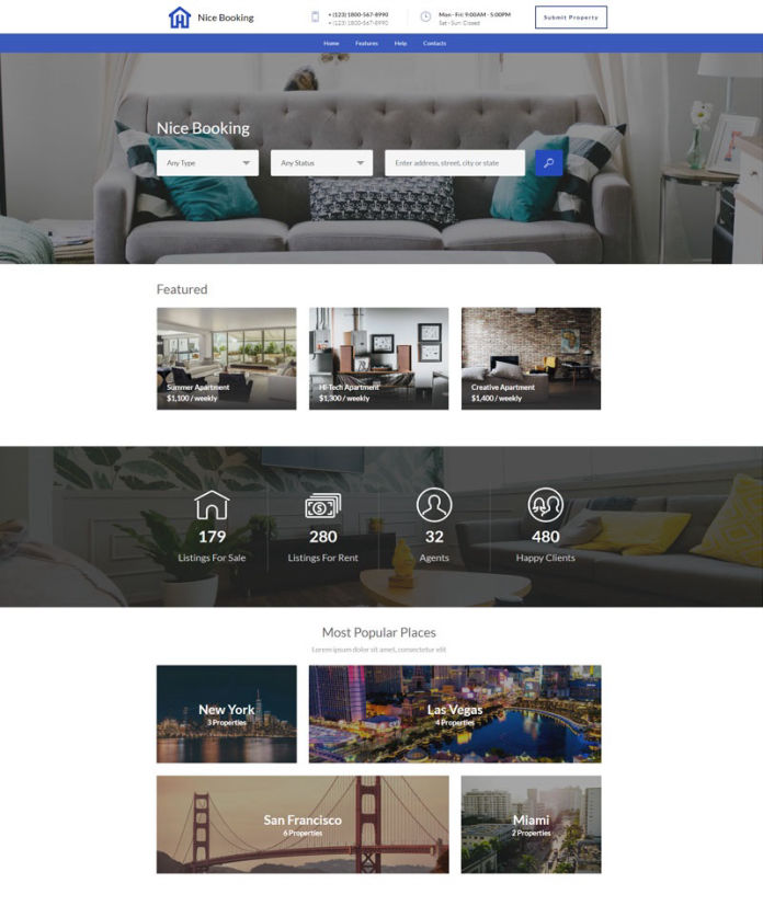Booking Real Estate Website Templates